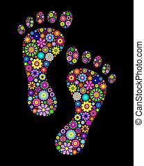 fotspår, färgrik