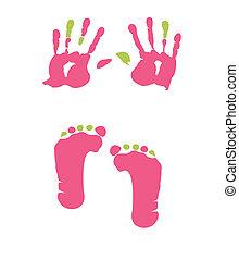 fotspår, handprint