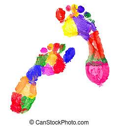 fotspår, multi färgade