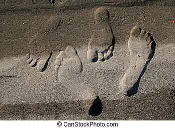 fotspår, sand