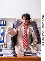 fou, camisole force, jeune, bureau, homme
