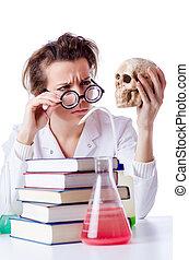 fou, chimiste, laboratoire, femme