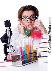 fou, femme, chimiste, laboratoire