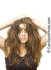 fou, femme, coiffure