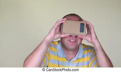 fou, glasses., réalité, vr, closeup, virtuel, jouer, homme