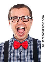 fou, homme, rire, nerd
