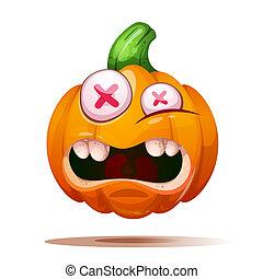 fou, mignon, illustration., rigolote, halloween, characters., citrouille