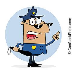 fou, police, hispanique, officier