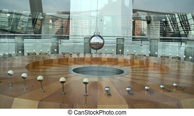Foucault pendulum in Valencia, Spain. Earth rotation experiment. Meseum of art and sceience . High quality 4k footage
