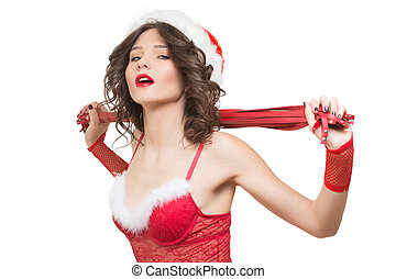 fouet, jeune fille, jouet, neige, sexe,  Santa,  sexy,  girl
