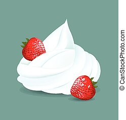 fouetté, cream., vecteur, illustration