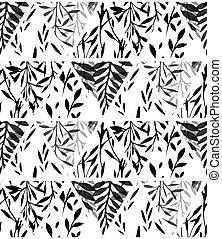 fougère, feuilles, silhouette, noir, blanc, pattern., naturel, brindille, triangles, vecteur, arrière-plan., géométrique, herbe, texture