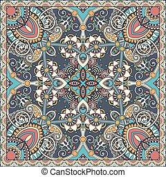foulard, carrée, cou, ukrainien, modèle, s, conception, soie...