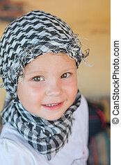 foulard, peu, bédouin, girl