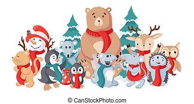 foule, animaux, mignon, art, vendange, noël, dessin animé, coloré, comique, joyeux