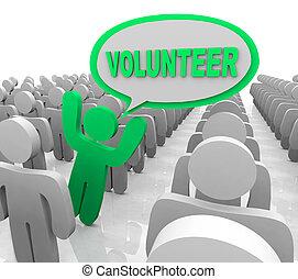 foule, assistant, personne, bulle discours, volontaire