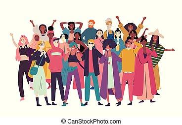 foule., course, groupe, gens, divers, mélangé