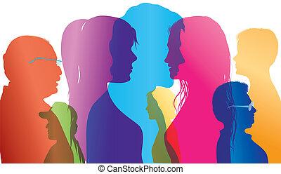 foule., dialogue, silhouette, coloré, exposition, gens, gens., différent, conversation, vecteur, ages., entre, multiple, comparaison, profiles.