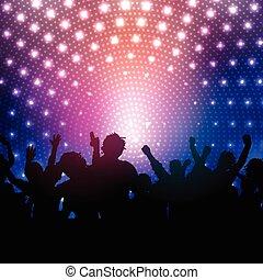 foule, disco allume, fond, fête, 2102
