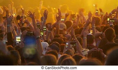 foule, festival, applaudissement, ventilateurs, plein air, musique