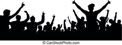 foule, gens, acclamation, silhouette., audience, ventilateur, fête, sport