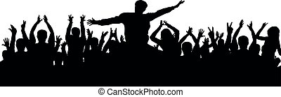 foule, gens, applaudir, audience, silhouette., acclamation