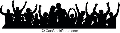 foule, gens, couple, jeune, silhouette., gai, baiser
