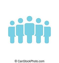 foule, gens, group., activity., design., style, groupe, vector., network., plat, business, social, illustration, cinq, utilisateur, icône, illustration., travail, silhouettes, vecteur, équipe, icon., constitué