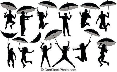 foule, gens, isolé, set., silhouette, ombrelles, vecteur, fond, blanc, parapluies