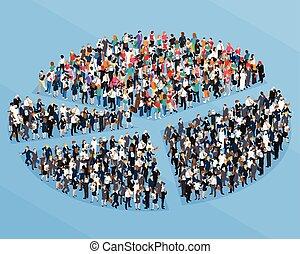 foule, gens, isométrique, graphique circulaire
