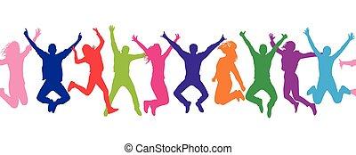 foule, gens., pattern., seamless, colorful., gai, sauter