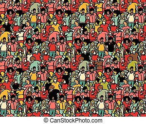 foule, grand, groupe, gens, seamless, pattern.