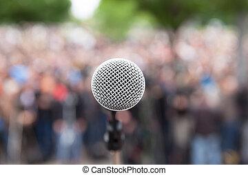 foule., microphone, politique, foyer, contre, brouillé, rally.