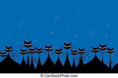 foule, modèle, seamless, chats, noir, conception, nuit, ton