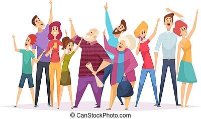 foule, pointage, heureux, concert., regarder, dessin animé, personnes, haut, ciel, gens, concert, illustrations, vecteur, ventilateurs