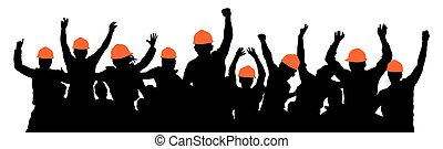 foule, protestation, construction, strike., silhouette, vecteur, ouvriers, builders.