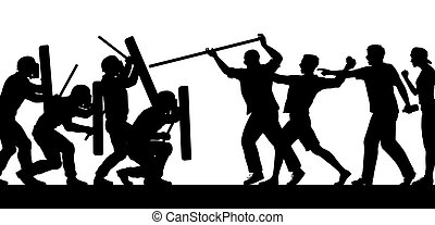 foule, silhouette, combat, police