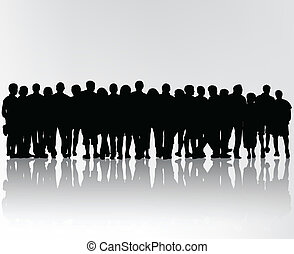 foule, silhouettes