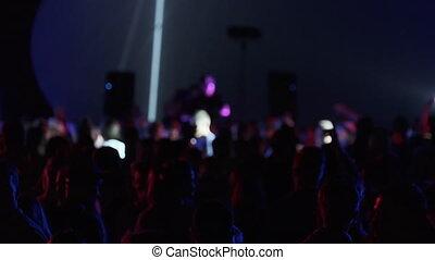 foule, sombre, boîte nuit, danse