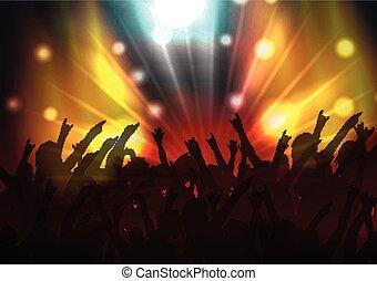 foule, tache, fête, lumières, disco
