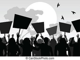 foule, vecteur, fond, paysage, protesters