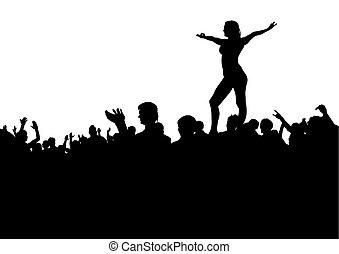 foules, spectateurs, cinq personnes