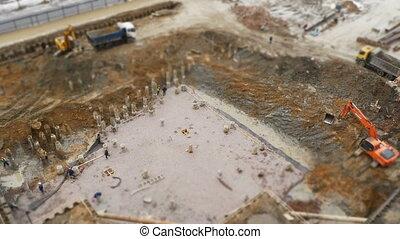 foundation construction top view time lapse tilt film