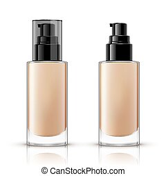 Foundation container mockup, cosmetic bottle package design...