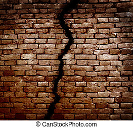 Foundation crack - Crack in a brick wall