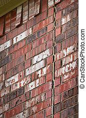 Foundation damage on brick wall