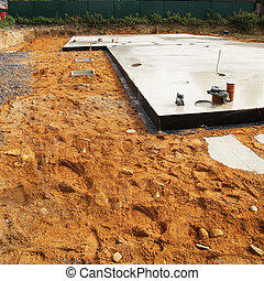 Foundation for new house - Floor foundation surrounded by ...