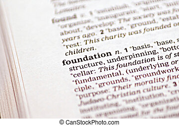 The word foundation written in a thesaurus