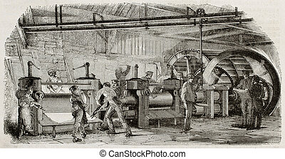 Foundry bis - Old illustration of iron production in La...