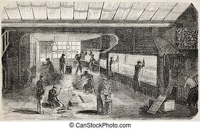 Foundry - Antique illustration of precious metals foundry in...